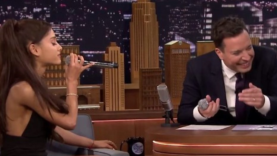 YouTube-hit: Ariana Grande imiteert Céline Dion bij Jimmy Fallon