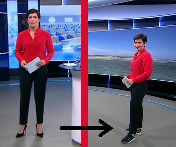 Annechien Steenhuizen verruilt naaldhakken voor sneakers tijdens NOS Journaal