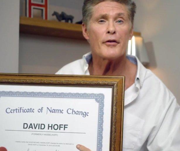 David Hasselhoff laat naam officieel veranderen