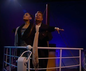 Ariana Grande en James Corden in Titanic-musical