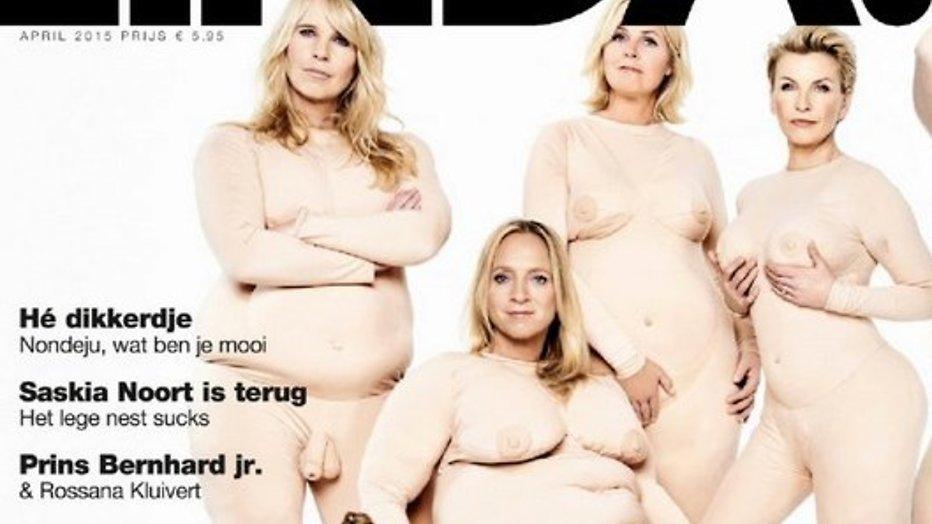 Linda de Mol toch niet naakt op cover, maar in dikmaakpak