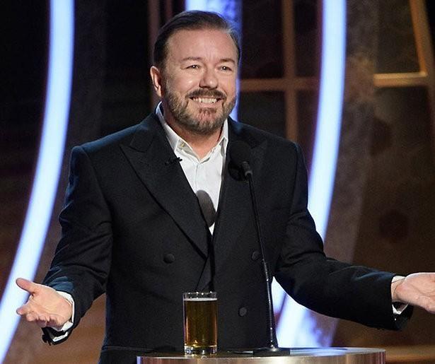 Ricky Gervais was op dreef tijdens de Golden Globes