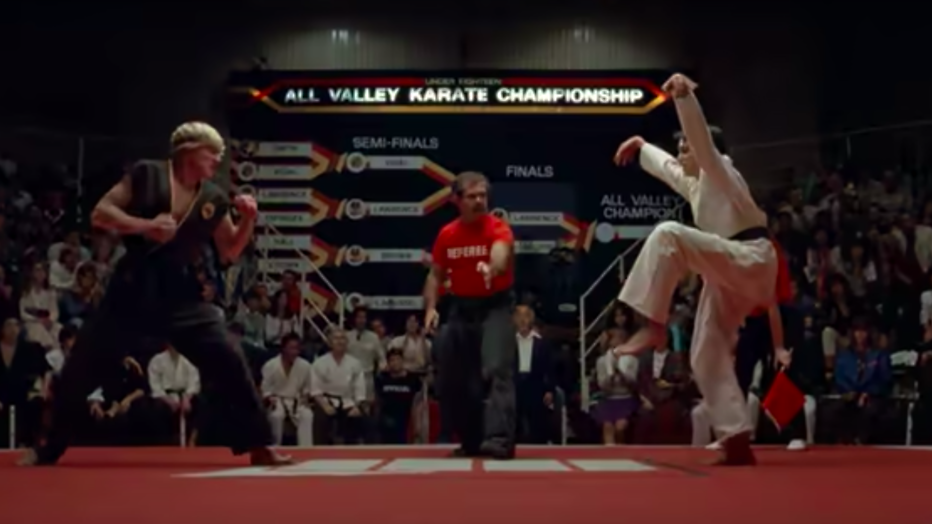Oude beelden van The Karate Kid met acteurs William Zabka en Ralph Macchio.
