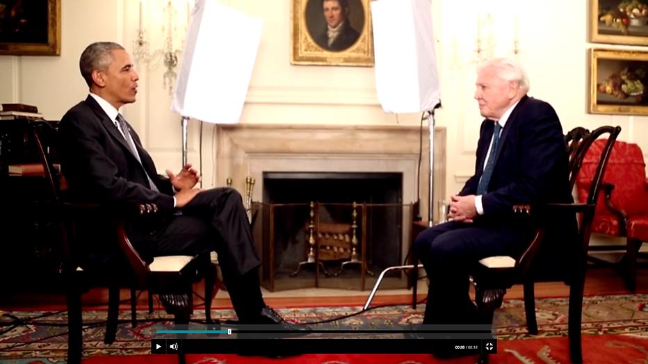 Barack Obama interviewt David Attenborough bij de NOS