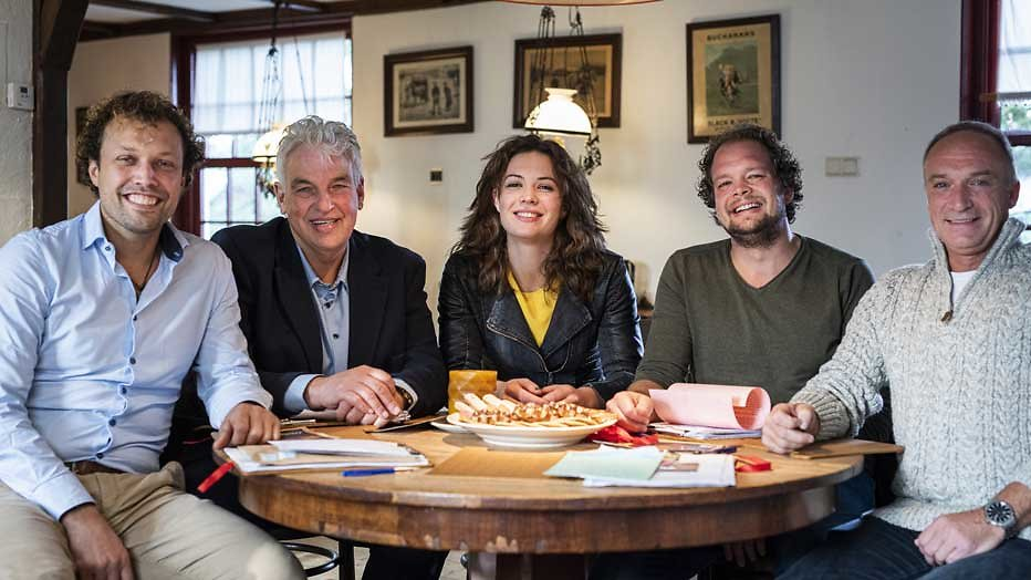 boeren Jan, Geert, Geert Jan, Bastiaan en boerin Annemiek