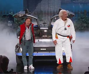 Marty McFly en Doc uit Back to the Future bij Jimmy Kimmel