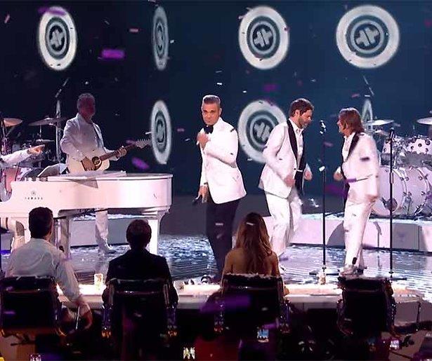 Videosnack: Robbie Williams en Take That herenigd bij X Factor