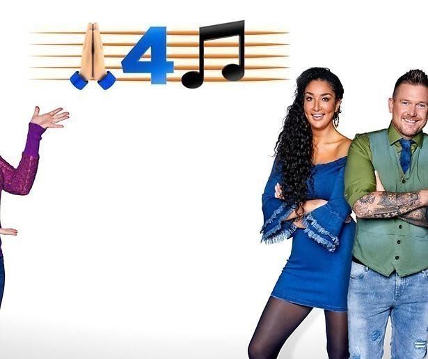 Soundos el Ahmadi en Sanne Hans teamcaptains in muziekshow SBS